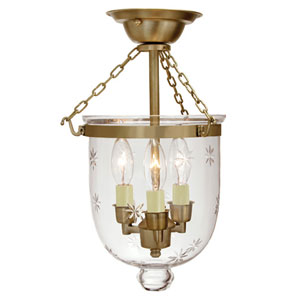Small Rubbed Brass Three-Light Bell Semi-Flush with Star Glass