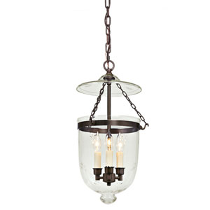 Medium Oil Rubbed Bronze Three-Light Hanging Bell Pendant with Star Glass