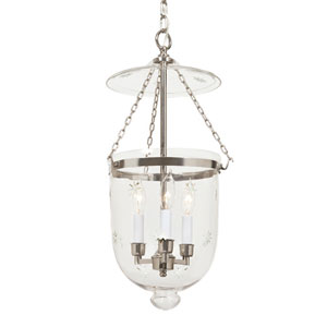 Polished Nickel Medium Three-Light Hanging Bell Pendant with Star Glass