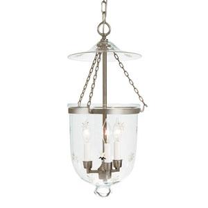 Medium Pewter Three-Light Hanging Bell Pendant with Star Glass