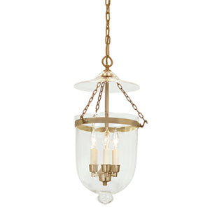 Medium Rubbed Brass Three-Light Hanging Bell Pendant with Clear Glass