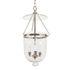 Polished Nickel Medium Bell Jar Lantern with Clear Glass