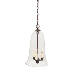 Elongated Large Oil Rubbed Bronze Three-Light Hanging Bell Pendant with Clear Glass
