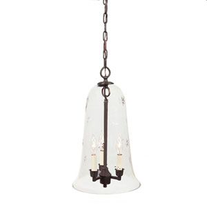 Elongated Large Oil Rubbed Bronze Three-Light Hanging Bell Pendant with Star Glass