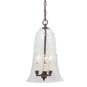 Elongated Large Oil Rubbed Bronze Three-Light Hanging Bell Pendant with Flower Glass