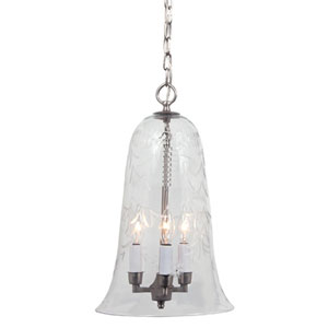 Elongated Large Pewter Three-Light Hanging Bell Pendant with Flower Glass