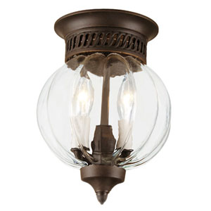 Melon Small Pewter Two-Light Bell Flush Mount