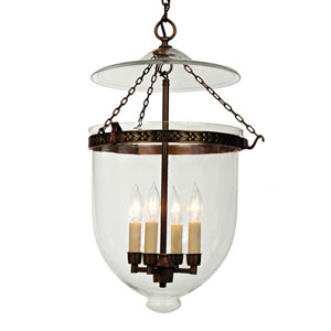 Extra Large Oil Rubbed Bronze Four-Light Hanging Bell Pendant with Clear Glass