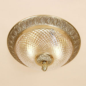 Traditional Brass Two-Light Flush Mount