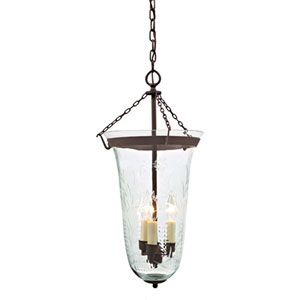 Sophia Bronze Three-Light Bell Pendant with Flower Glass