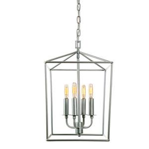 Austin Aged Silver 12-Inch Four-Light Lantern