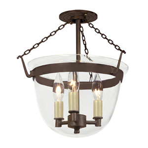 Small Oil Rubbed Bronze Three-Light Bell Semi-Flush with Clear Glass