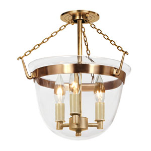 Small Rubbed Brass Three-Light Bell Semi-Flush with Clear Glass