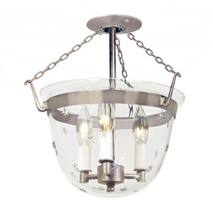 Small Pewter Three-Light Bell Semi-Flush with Star Glass