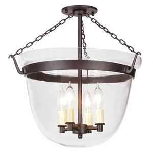 Oil Rubbed Bronze Large Semi-Flush Bell Jar Lantern with Clear Glass