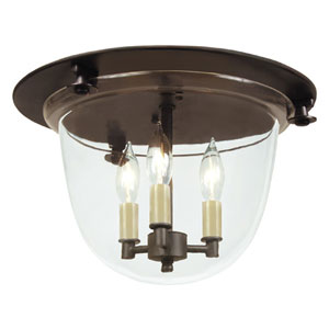 Small Oil Rubbed Bronze Three-Light Bell Flush Mount with Clear Glass