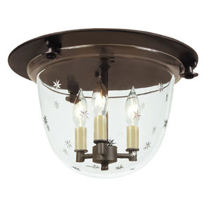 Small Oil Rubbed Bronze Three-Light Bell Flush Mount with Star Glass