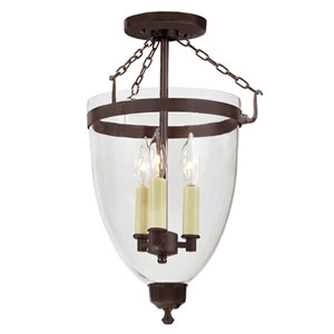 Danbury Oil Rubbed Bronze Large Three Light Bell Glass Lantern with Clear Glass