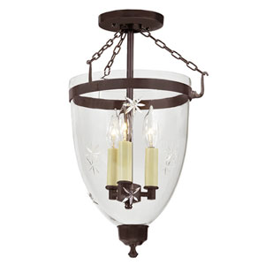 Danbury Oil Rubbed Bronze Large Three Light Bell Glass Lantern with Star Glass