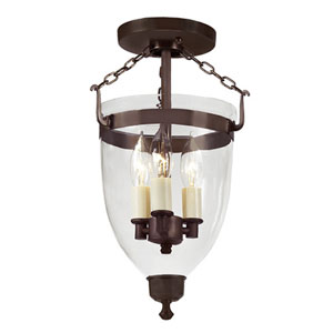 Danbury Oil Rubbed Bronze Small Three Light Bell Glass Lantern with Clear Glass