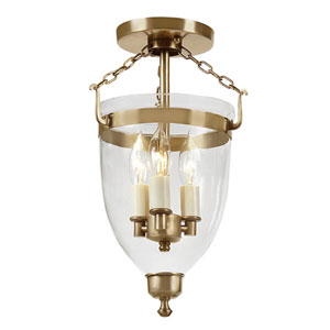 Danbury Rubbed Brass Small Three Light Bell Glass Lantern with Clear Glass