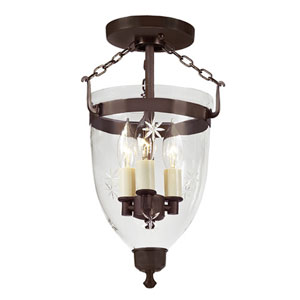 Danbury Oil Rubbed Bronze Small Three Light Bell Glass Lantern with Star Glass