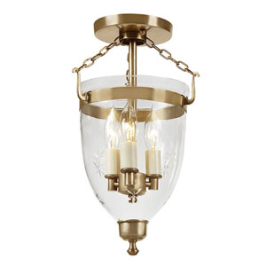 Danbury Rubbed Brass Small Three Light Bell Glass Lantern with Star Glass