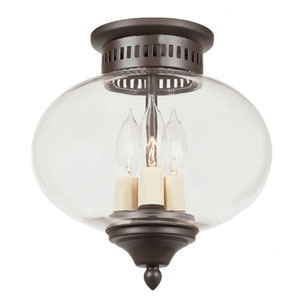 Oil Rubbed Bronze Three-Light Medium Flush Mount Onion Lantern