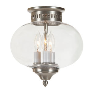 Pewter Three-Light Medium Flush Mount Onion Lantern