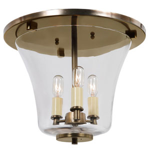 Greenwich Rubbed Brass Three Light Flush Ceiling Mount