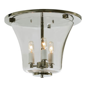 Greenwich Polished Nickel Three Light Flush Ceiling Mount