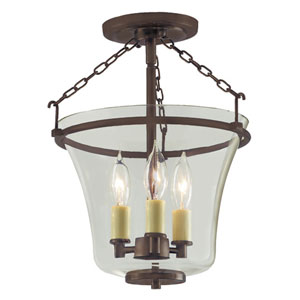 Greenwich Oil Rubbed Bronze Three Light Semi Flush Ceiling Mount