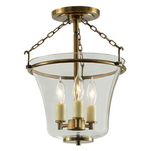 Greenwich Rubbed Brass Three Light Semi Flush Ceiling Mount