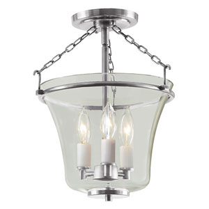 Greenwich Pewter Three Light Semi Flush Ceiling Mount