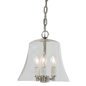 Greenwich Pewter Three Light Hanging Bell Pendant