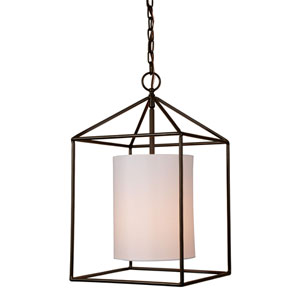 Decatur Oil Rubbed Bronze 12-Inch One-Light Pendant with White Shade