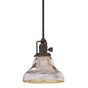 Union Square Oil Rubbed Bronze 7-Inch One-Light Mini Pendant with Antique Mercury Ribbed Mouth Blown Glass Shade