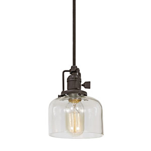 Union Square Oil Rubbed Bronze 5-Inch One-Light Mini Pendant with Clear Mouth Blown Glass Shade