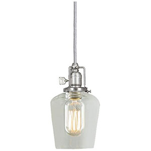 Union Square Pewter Five-Inch Mini Pendant with Clear Glass Shade