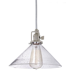 Union Square 10-Inch Nickel Pendant with Seeded Glass and 60-Inch Wire