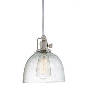 Union Square Seven-Inch Nickel Pendant with Seeded Glass and 60-Inch Wire