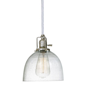 Union Square Seven-Inch Pewter Pendant with Seeded Glass and 60-Inch Wire