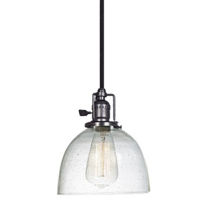 Union Square Seven-Inch Metal Pendant with Seeded Glass and 60-Inch Wire