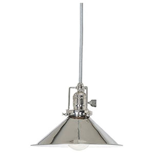 Union Square Polished Nickel Eight-Inch Mini Pendant with Metal Shade