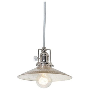 Union Square Polished Nickel Eight-Inch Mini Pendant with Antique Mercury Ribbed Shade