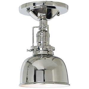 Union Square Polished Nickel Five-Inch Semi-Flush Mount with Metal Shade