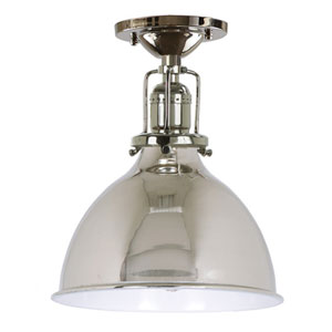 Union Square Seven-Inch White and Nickel Semi-Flush Mount