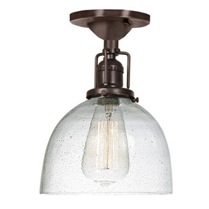 Union Square Seven-Inch Bronze Semi-Flush Mount with Bubble Glass