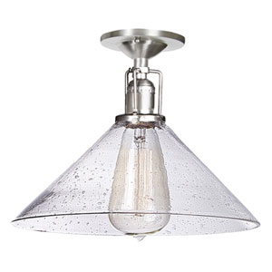 Union Square 10-Inch Pewter Semi-Flush Mount with Bubble Glass