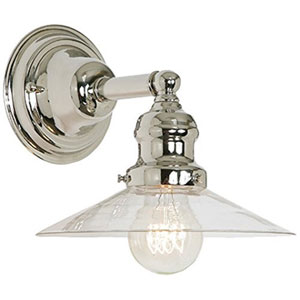 Union Square Polished Nickel Eight-Inch Wall Sconce with Clear Glass Shade